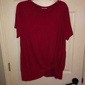 Tops - Red front knot top